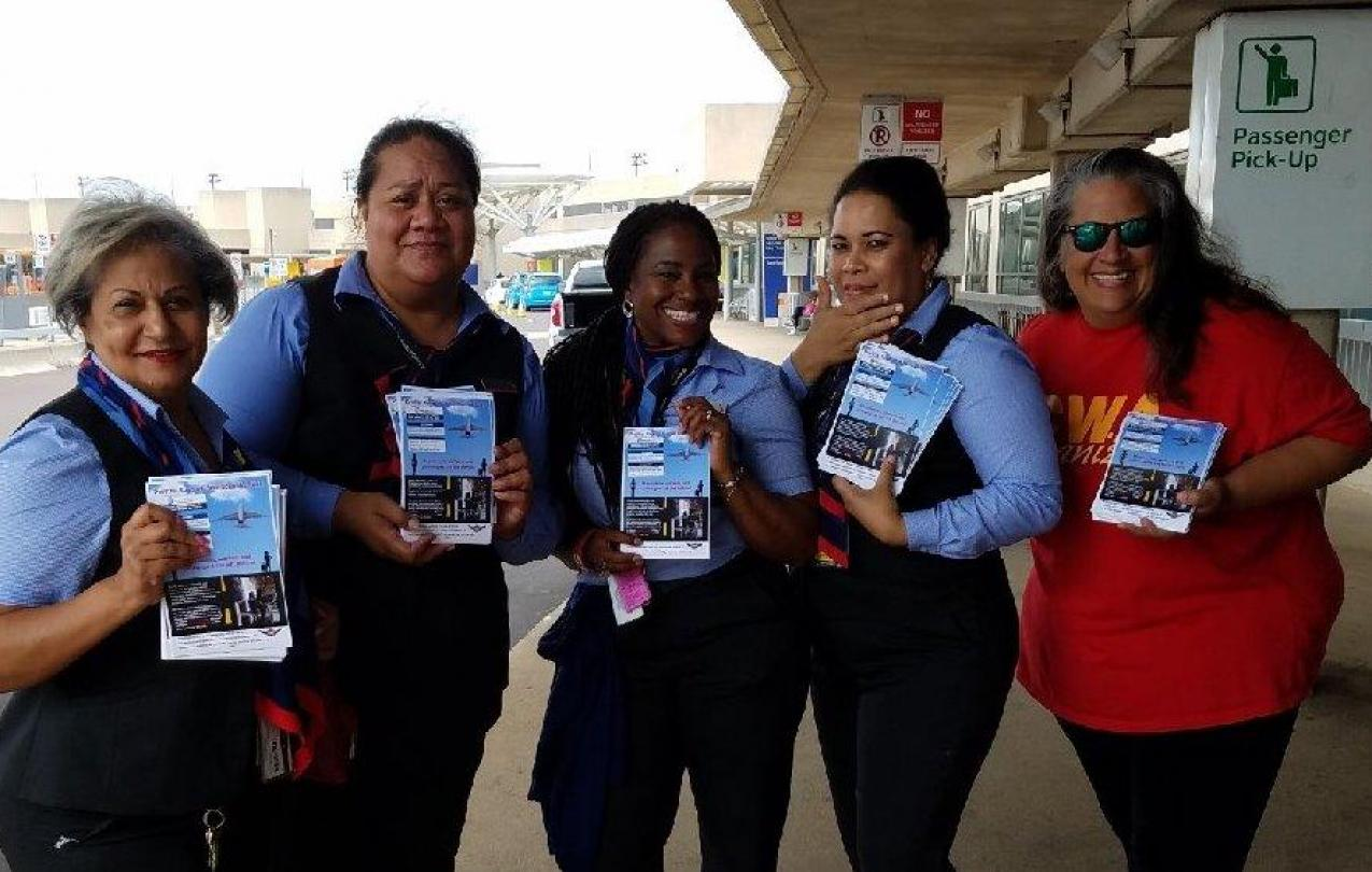 leafleting at DFW Summer 2018