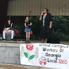 Linda Lloyd speaks at the first annual Fair Wage Picnic